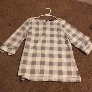 The Limited White and Gray Checkered Dress Shirt